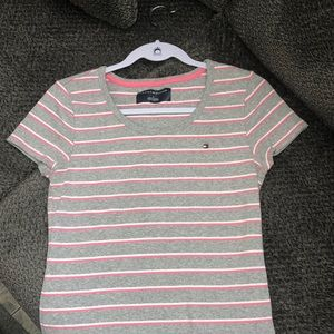 Tommy Hilfiger grey shirt w white and pink stripes